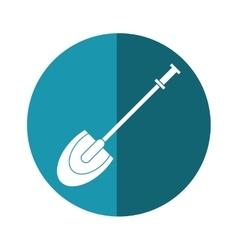 shovel tool element camping blue circle shadow vector image vector image