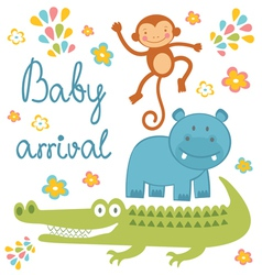 Baby arrival jungle animals vector