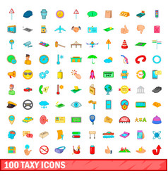 100 taxy icons set cartoon style vector