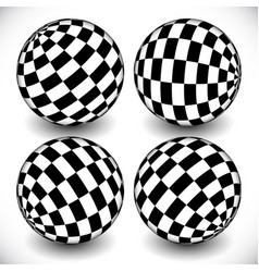 3d spheres with checkered chequered surface on vector