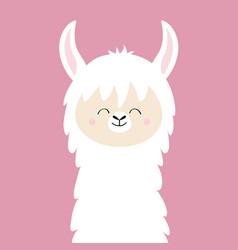 Alpaca llama animal face neck cute cartoon kawaii vector