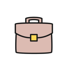 briefcase portfolio bag flat color icon vector image