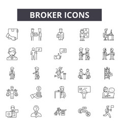 Broker line icons for web and mobile design vector