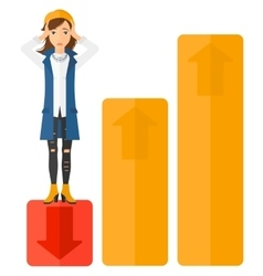 Business woman standing on low graph vector image