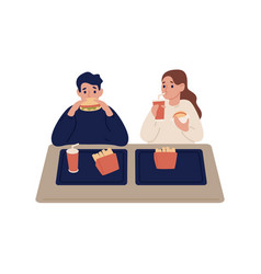 cartoon couple eating fast food at cafeteria vector image