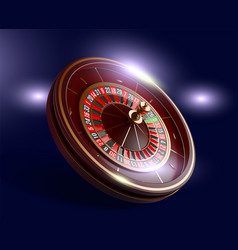 casino roulette wheel isolated on blue background vector image