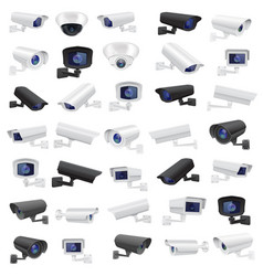 Cctv security camera large collection of black vector