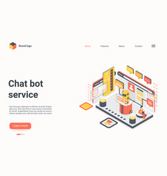 chat bot service concept isometric landing page vector image