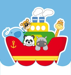 Child ship animals vector image