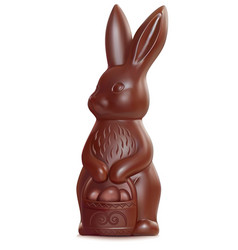 chocolate easter bunny on white 3d vector image vector image