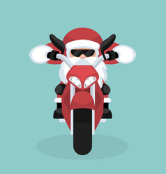 christmas card of santa claus riding motorcycle vector image