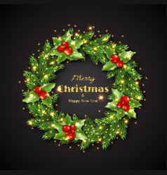Christmas wreath with holly glowing lights vector