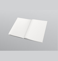 Clear empty opened book with copy space template vector