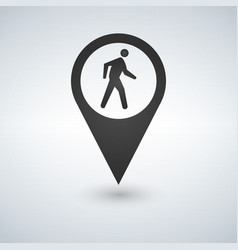 common pedestrian icon man walking by foot map vector image