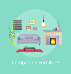Compatible furniture in modern design living room vector