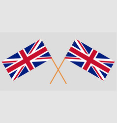 crossed uk flags official colors vector image