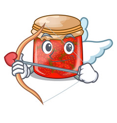 Cupid character homemade strawberry marmalade in vector