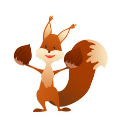 cute cartoon squirrel sweet friendly animal vector image