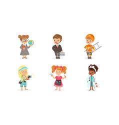 Cute kids various professions set teacher vector