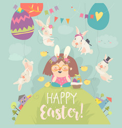 cute little girl with easter bunnies happy easter vector image