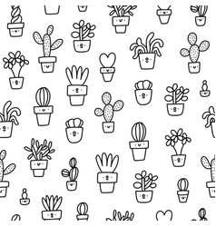 cute little prickly cactuses outline cartoon vector image