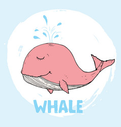 cute whale cartoon hand drawn animal doodles vector image