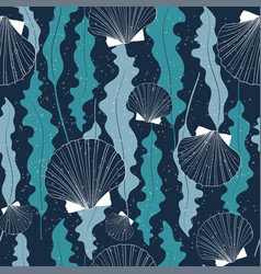 dark seamless pattern with seashells and seaweeds vector image