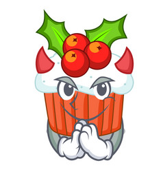 Devil decorated christmas cupcakes cartoon for vector