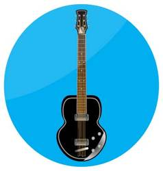 Electronic guitar icon flat vector image vector image