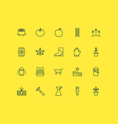 Farm icons set collection of protection mitt vector