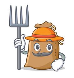 farmer sack character cartoon style vector image