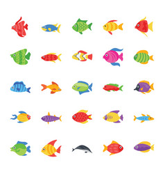 Fishes flat icons vector