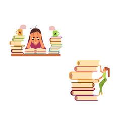 Flat education work stress overwork set vector