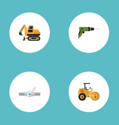 Flat icons electric screwdriver tractor pipeline vector