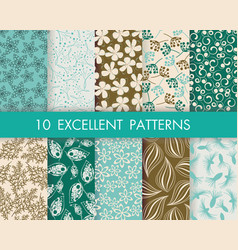 floral pattern set can be used for wallpaper web vector image