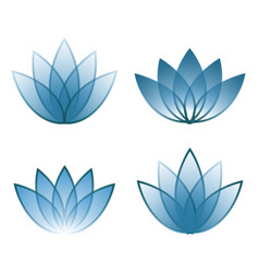 four blue icon lotos lines vector image
