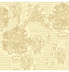Garden seamless pattern with 3 plants vector image