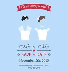 Gay wedding invitation vector image