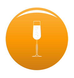 Glass of champagne icon orange vector