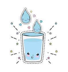 Glass water kawaii character vector