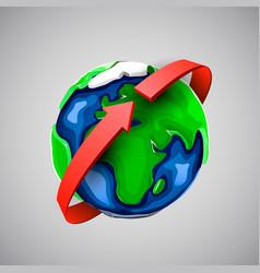 globe design with around world arrow vector image