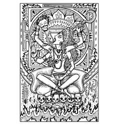 goddess kali engraved fantasy vector image