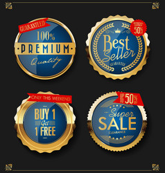 golden sale labels retro vintage design vector image