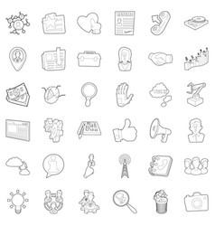 Good business icons set outline style vector