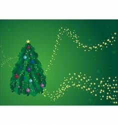 green Christmas tree greeting card vector image