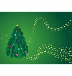 Green Christmas tree greeting card vector