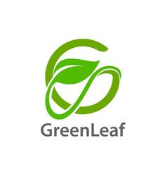 green leaf initial letter g logo concept design vector image