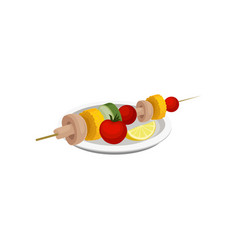 grilled vegetables vegan kebab vegetarian food vector image
