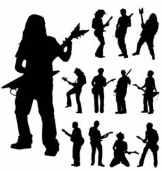 guitar players vector image