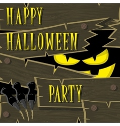 Halloween banner black monster with scary face vector image
